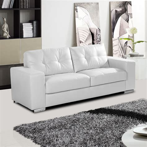 Leather Sofas by White Leather Sofa Collection With Tufted Seats And