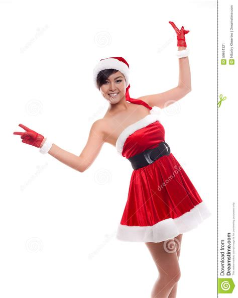 christmas asian model girl on a white background stock