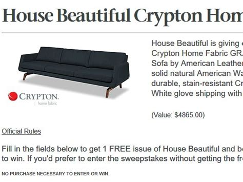 house beautiful sweepstakes house beautiful crypton home fabric sweepstakes
