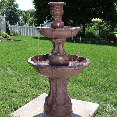 ls plus water fountains sunnydaze goblet 3 tier garden outdoor water 37