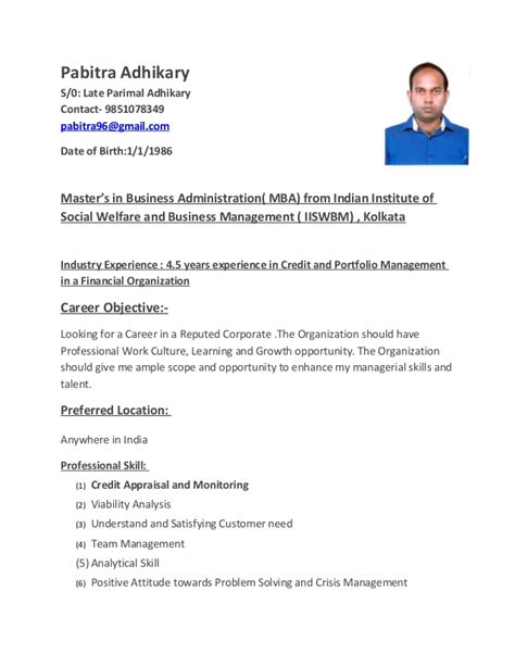 Resume Format Credit Manager Pabitra Adhikary Resume Credit Manager