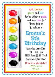 invitations painting birthday paint box paint pallette crafts birthday