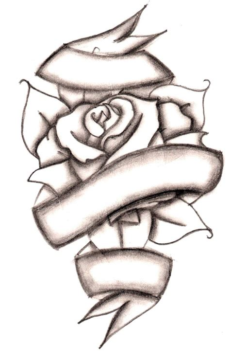 rose tattoo with ribbon drawings of hearts and roses clipart best