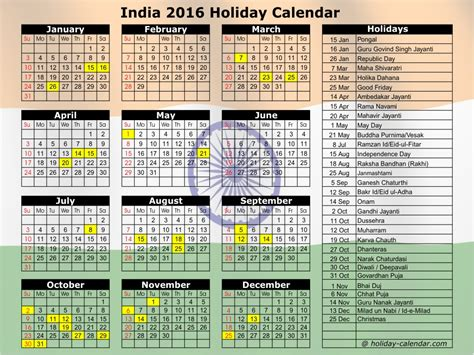 printable monthly calendar 2016 with indian holidays image gallery indian festival calendar 2016