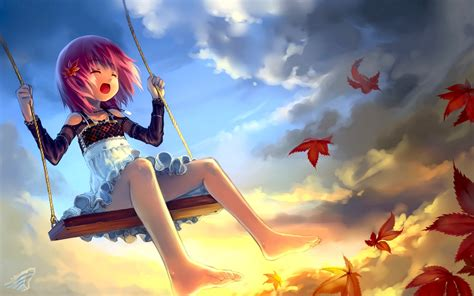 swinging heroes clouds leaves lolicon wallpaper 1920x1200 10309