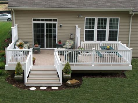 pictures of decks for mobile homes with wood and granite tones