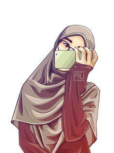wallpaper gambar kartun wanita muslimah cantik terbaru