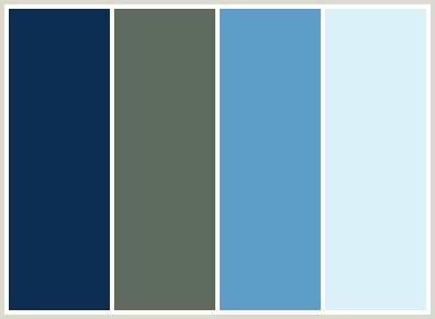 colors that go with baby blue colorcombo131 with hex colors 0c2c52 5f6b61 5e9dc8 dcf0f7