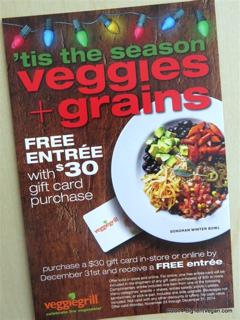 Veggie Grill Gift Card - two special limited time offers at veggie grill big tent vegan