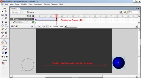 tutorial flash untuk membuat media pembelajaran cara membuat animasi bola berjalan dengan menggunakan