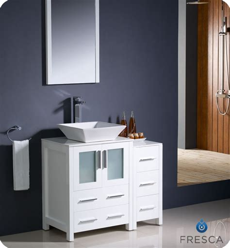 Fresca torino 36 quot white modern bathroom vanity with side cabinet and vessel sink
