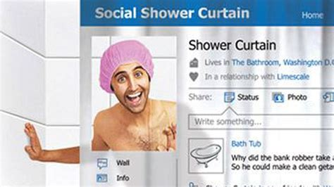 facebook shower curtain facebook shower curtain lets you clean up with your
