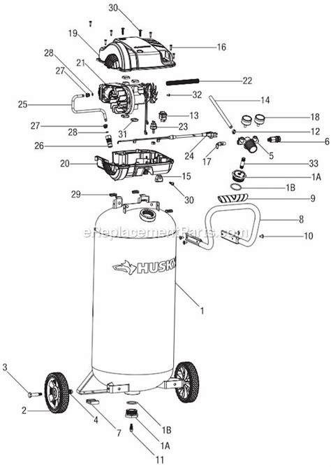 husky 20 gallon 175 psi portable air compressor c201h ereplacementparts