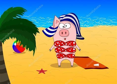ragazze in costume da bagno al mare maiale in costume da bagno e cappello al mare vettoriali