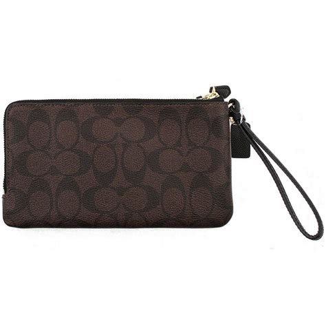 Coach Wristlet 2zip Black spreesuki coach zip large wristlet wallet in signature black brown f54057