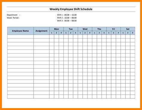 6 Blank Work Schedules Dialysis Nurse Nursing Schedule Template