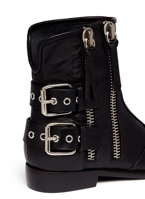 giuseppe zanotti cobain motorcycle buckle boots in black