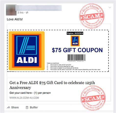 Free Gift Cards No Scams - get a free 75 aldi gift card facebook scam hoax slayer