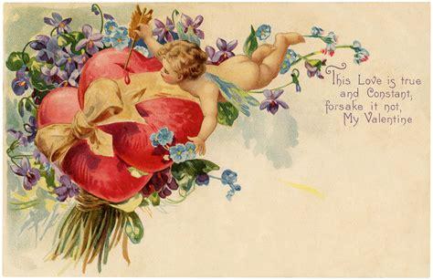 valentines vintage cherubs violets vintage image
