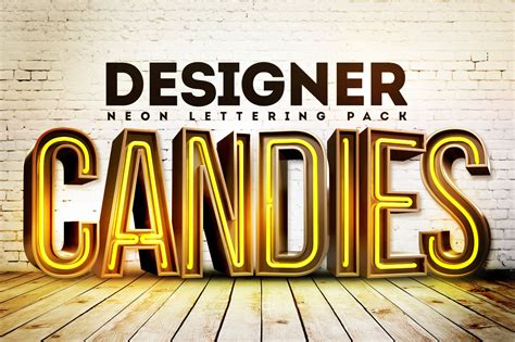 3d font design online free 3d neon lettering renders pack designercandies
