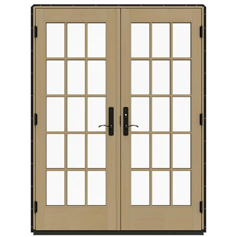 Patio Door Frame Jeld Wen 60 In X 80 In W 4500 Black Prehung Left Inswing Patio Door With