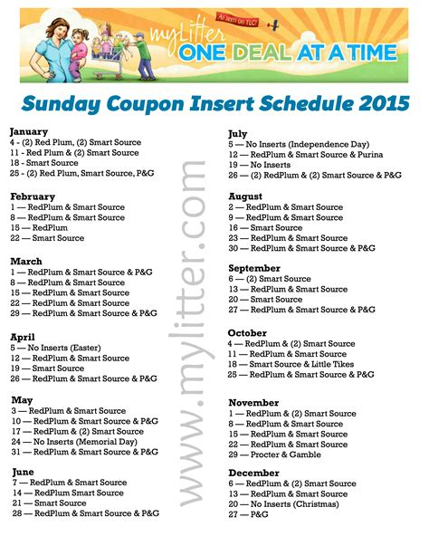 Printable 2015 Coupon Insert Schedule | 2015 sunday coupon insert schedule