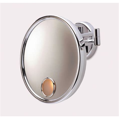 jerdon lighted magnifying mirror jerdon 10 in l x 10 in w wall mirror in chrome jd7c