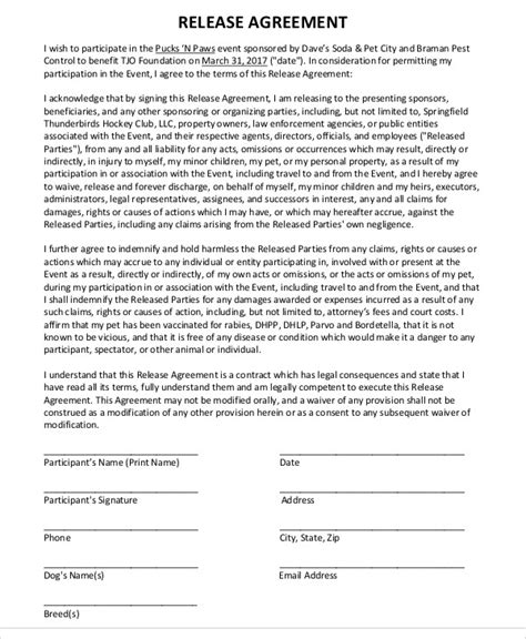 waiver agreement template 9 release agreement templates free sle exle
