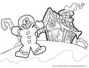 Reindeer gingerbread man with his gingerbread house coloring pages