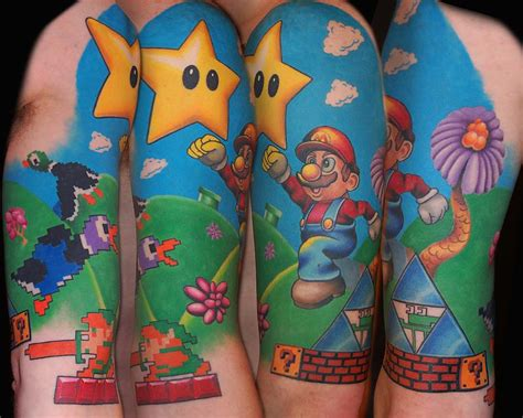 nintendo sleeve tattoo designs 15 tattoos on half sleeve