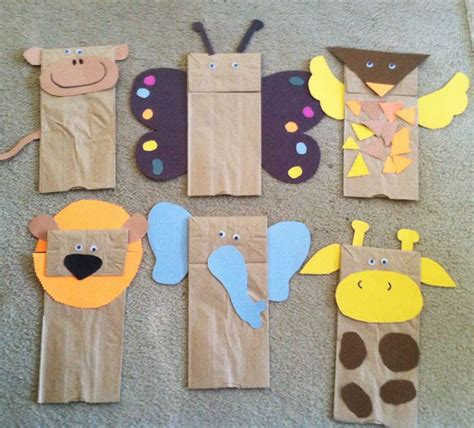 Paper Bag Puppet Craft - brown paper bag jungle animal puppets w children s book