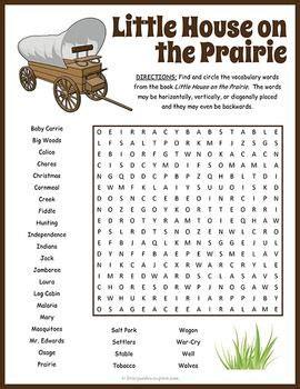 printable little house on the prairie little house on the prairie word search word search