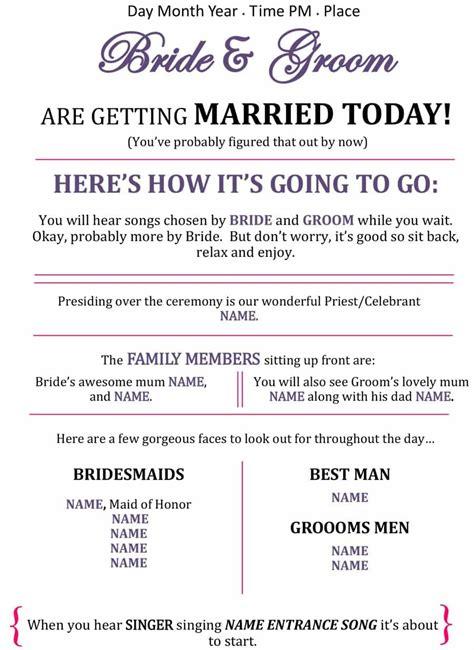 37 Printable Wedding Program Exles Templates ᐅ Template Lab Program Template