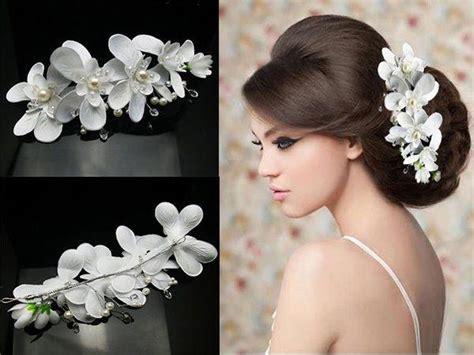 Wedding Hairstyles With Orchids by White Orchid Blume Kristalle Perlen Perlen Braut Hochzeit
