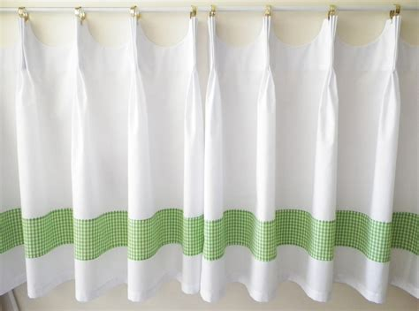 cafe length curtains scalloped cafe curtains with green gingham by