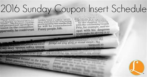 printable 2015 coupon insert schedule 2016 sunday coupon insert schedule print it here
