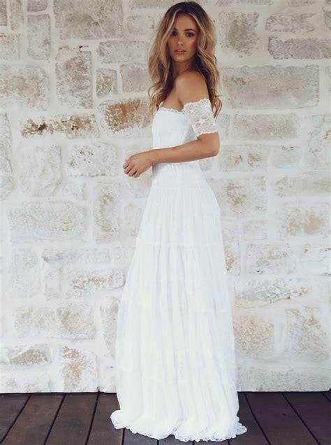 Shoulder Lace Wedding Dress a line the shoulder sleeves lace boho wedding