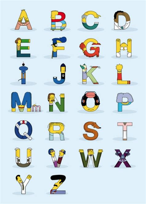 Letter Character Names Simpsons Characters In The Form Of Letters Of The Alphabet