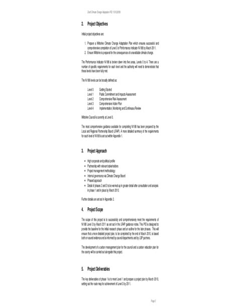 standard project initiation document template free