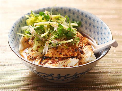 spicy warm silken tofu with celery and cilantro salad serious eats