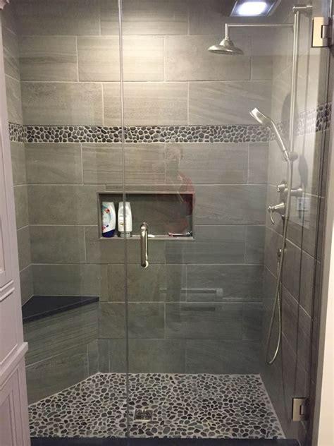 charcoal tile bathroom large charcoal black pebble tile border shower accent