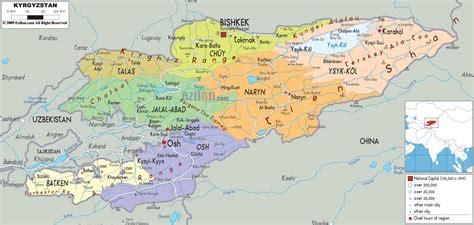 kyrgyzstan map detailed political map of kyrgyzstan ezilon maps