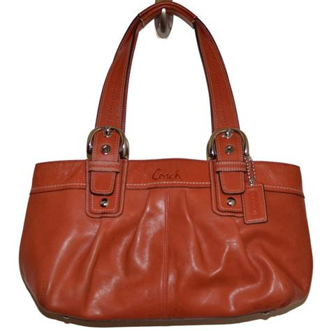Coach Karee Leather Purse by Coach Soho Hton Leather Handbag Pleated Tote Tomato