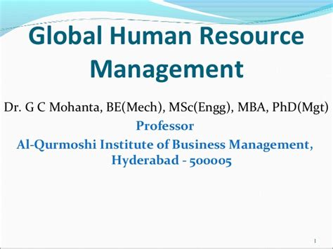 Dr Health And Mba Title by Global Human Resource Management Gcm