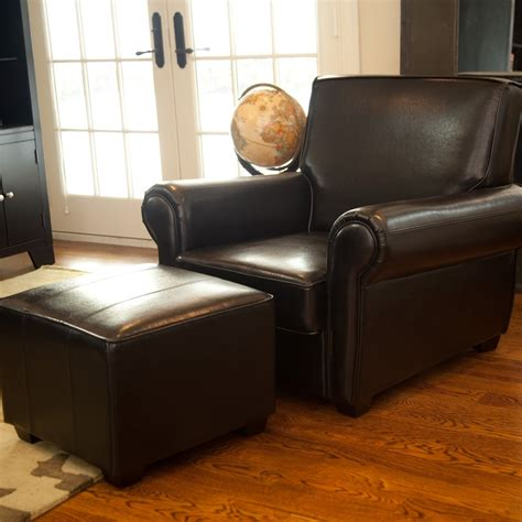 black leather chair with ottoman black leather chair and a half