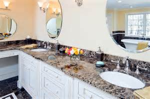 Emperador dark marble vanity traditional bathroom boston