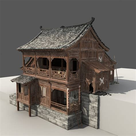 chinese house chinese old wooden house 3d model cgstudio
