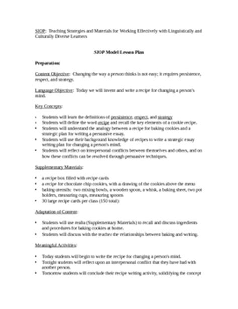 Persuasive Essay Student Models by Siop Model Lesson Plan Recipe For Writing A Persuasive