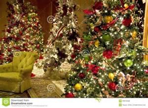 christmas trees lights luxury hotel lobby stock photo