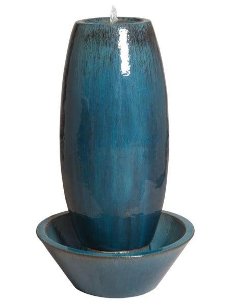 large ceramic garden fountain blue scenario home